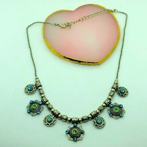 Vintage Silver Necklace with stones